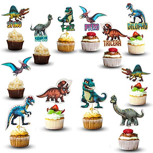 48 Pcs Dinosaur Cupcake Toppers | Dinosaur Party Supplies | Dinosaur Cake Toppers for Kids Birthday Baby Shower | Jurassic Dinosaur Theme Party Decorations