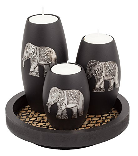 IYARA CRAFTs 3 Wooden Candle Holders with Candle Tray  Decorative Candle Holders with Inlaid Aluminium Antique Elephant  Intricate Details  Matte Wood Finish  Ideal for Modern & Rustic Settings