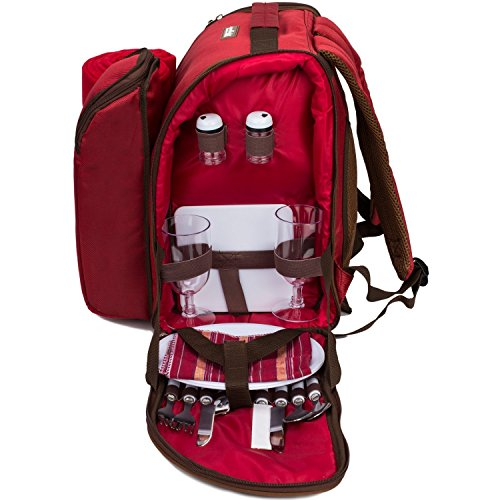 apollo walker 2 Person Red Picnic Backpack with Cooler Compartment Includes Tableware & Fleece Blanket 45'x53'(red)
