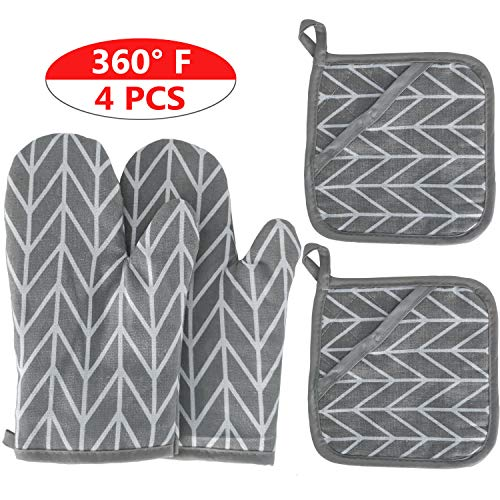 2 Oven Mitts and 2 Pot Holders Set, Soft Cotton Lining with Non-Slip Surface, Heat Resistant Kitchen Microwave Gloves for Baking Cooking Grilling BBQ (Grey)