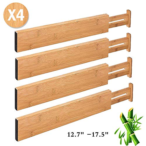 Drawer Dividers 4 Pack Bamboo Kitchen Drawer Organizer Adjustable Expandable Separators from 12.7 to 17.5 Inches with Spring for Kitchen Cabinet Utensil Drawer Closet Baby Drawer Bookshelf