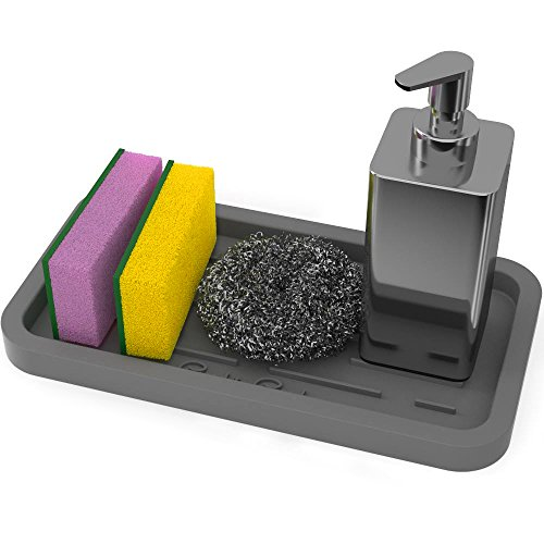 GOOD TO GOOD Silicone Sponges Holder - Kitchen Sink Organizer Tray for Sponge, Soap Dispenser, Scrubber and Other Dishwashing Accessories - Gray