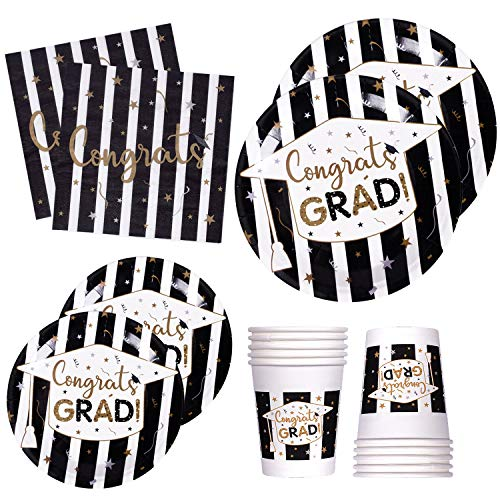 120 PCS Graduation Party Supplies Disposable Dinnerware Set Dinner Paper Plates Napkins Cups Black Gold Decoration, Serves 24