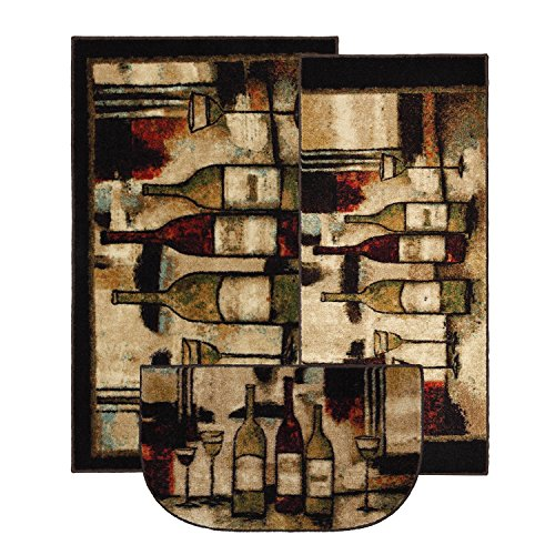 Mohawk Home New Wave Wine And Glasses Printed Rug, 3-Piece Rug Set, Brown