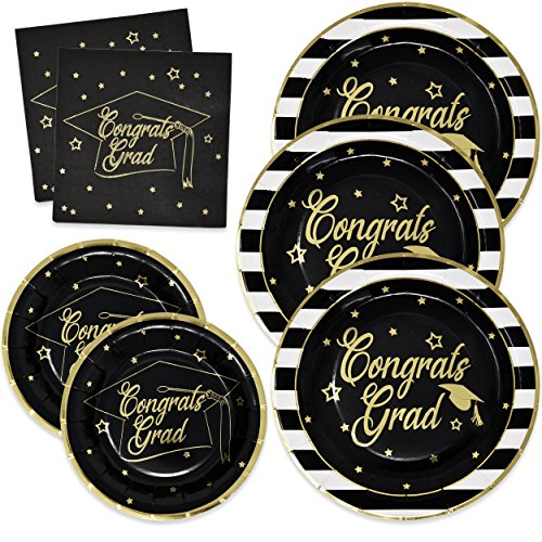 Gift Boutique Graduation Plates and Napkins 2020 for 50 Guests Disposable Dinnerware Set in Black and Gold Foil for Party Supplies Decorations