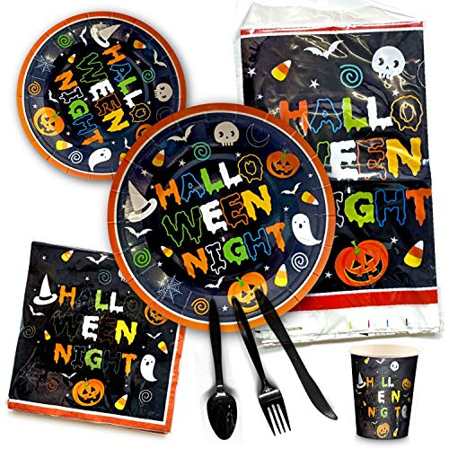 Halloween Disposable Dinnerware Set - Serves 16 - Party Supplies w/ghosts, Witch, pumpkin, vampire for kids, dorms. Plastic knives, spoons, forks, paper plates, napkins, cups, tablecloth. Heavy duty