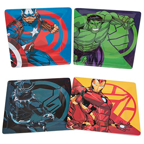 Marvel Avengers Plate Set of 4 - Black Panther, Captain America, Iron Man and Hulk - Durable Melamine