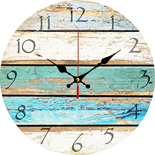 Grazing 12' Vintage Arabic Numerals ,Shabby Beach, Weathered Beachy Boards Design ,Ocean Colors Old Paint Boards Printed Image, Rustic Mediterranean Style Wooden Decorative Round Wall Clock (Sky)