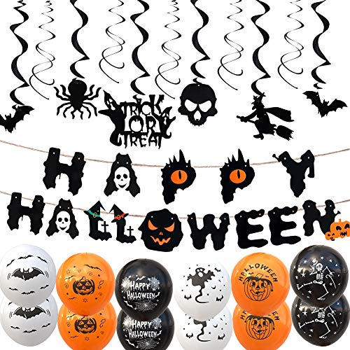 Halloween Party Decoration Kit includes Happy Halloween Banner,Haunted House Hanging Swirl Decoration and 6 type Balloons,Zombie Vampire Ghosts Home Ceiling Decor,Halloween Party Supplies Gifts