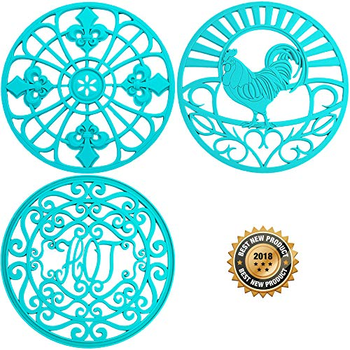 Silicone Trivet Set For Hot Dishes, Pots & Pans. These Modern Kitchen Hot Pads come in 3 Different Country Decor Designs that Mimics Vintage Cast Iron Trivets. (7.5 inch Round, Set of 3, Teal)
