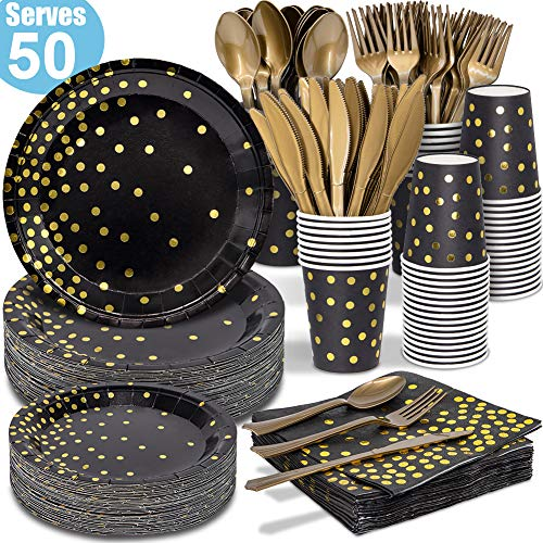 Black and Gold Party Supplies - 350 PCS Disposable Dinnerware Set - Black Paper Plates Napkins Cups, Gold Plastic Forks Knives Spoons for Birthday Graduation Christmas 2020 New Years Eve Party