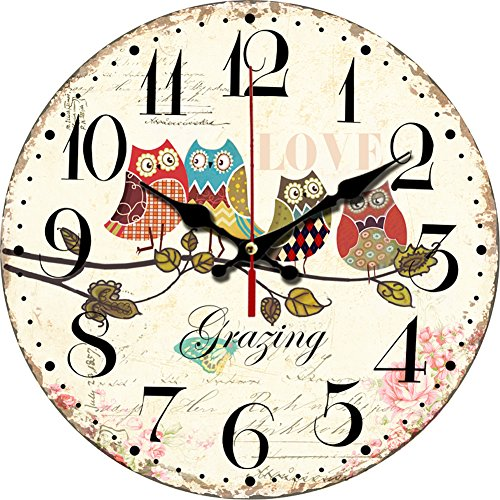 Grazing 12' Cute Cartoon Vintage Owl Design Arabic Numerals Rustic Country Tuscan Style Wooden Decorative Round Wall Clock (Owl 02)